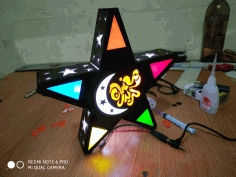 Laser Cut Star Lamp NightLight Free DXF File