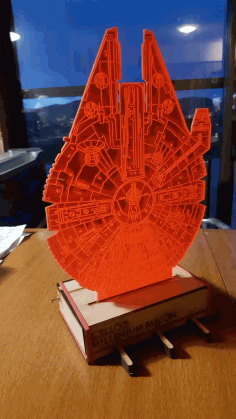 Laser Cut Star Wars Millenium Falcon And Stand 3d Optical Illusion Lamp Free DXF File