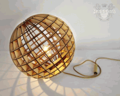 Laser Cut Wood Spherical Lamp Free DXF File