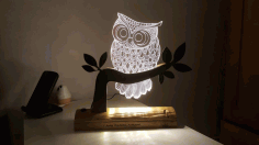 Owl 3d Illusion Led Night Light Free DXF File