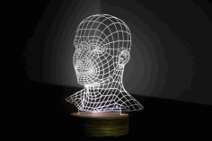 Head 3d illusion Led Night Light Free CDR Vectors Art