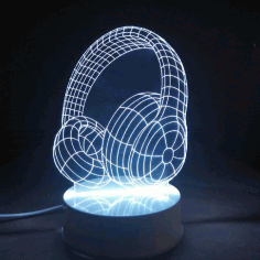 Headphones 3d illusion Led Night Light Free CDR Vectors Art
