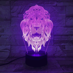 Laser Cut Acrylic 3d Lion Animal Night Light Free CDR Vectors Art
