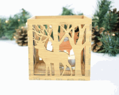 Laser Cut Box Lamp Deer In The Forest Free CDR Vectors Art