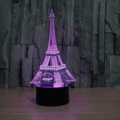 Laser Cut Eiffel Tower Acrylic 3d Illusion Lamp Free CDR Vectors Art