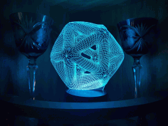 Laser Cut Icosahedron 3d Night Light Acrylic Optical Illusion Lamp Free CDR Vectors Art