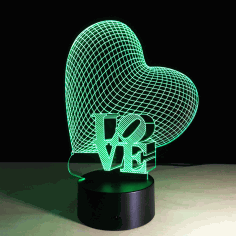 Love Heart Night Light 3d Illusion Free CDR Vectors Art