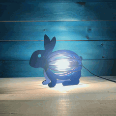 Wooden Rabbit Night Light Bunny Lamp Laser Cutting Template Free CDR Vectors Art