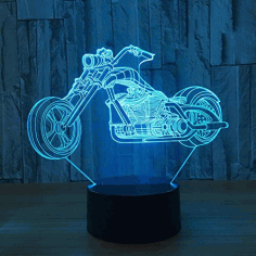 Motorcycle 3d Led Illusion Night Light Template Free CDR Vectors Art