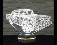 Creative 3d Led Car Night Lamp Template Free DXF File
