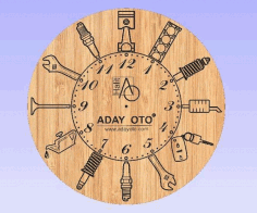 Wooden Clock Tools Engraved Free DXF File