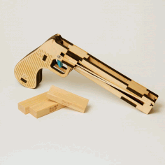 Wooden Laser Cut Pistol And Magzine Free DXF File
