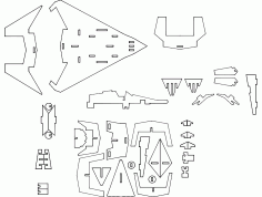 f22 Stealth 3d Puzzle Free DXF File