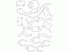 Triceratops A 3d Puzzle Free DXF File