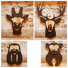Laser Cut Cnc Jungle Animal Heads Shaped Wall Clocks Free CDR Vectors Art