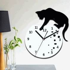 Laser Cut Cnc Naughty Cat Wall Clock Free CDR Vectors Art