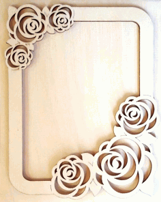 Laser Cut Cnc Photo Frame With Roses Free CDR Vectors Art