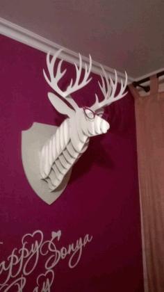 Laser Cut Cnc Trophy Deer Head Free CDR Vectors Art