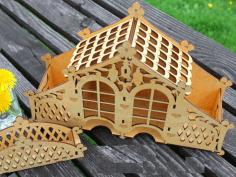 Decorative Tea House Laser Cut 3d Puzzle Free CDR Vectors Art