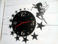 Laser Cut Wall Clock With Fairy 3d Puzzle Free CDR Vectors Art