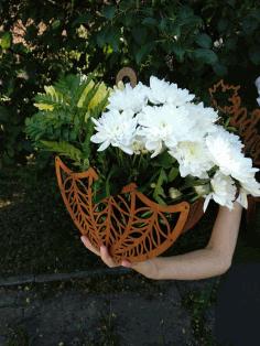 Laser Cut Wooden Decorative Flower Basket 3d Puzzle Free CDR Vectors Art