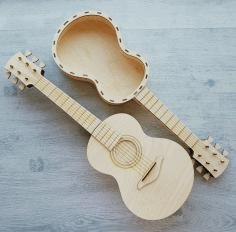 Lasercut Guitar Box 3d Puzzle Free CDR Vectors Art