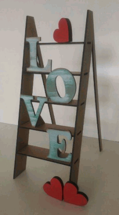 Love Step Ladder Laser Cut 3d Puzzle Free CDR Vectors Art