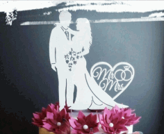 Married Couple Bride And Groom Topper 3d Puzzle Free CDR Vectors Art
