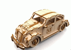 Car Herbie 3mm Laser Cut 3d Puzzle Free DXF File