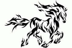 Tribal Horse Flame Stencil Free DXF File