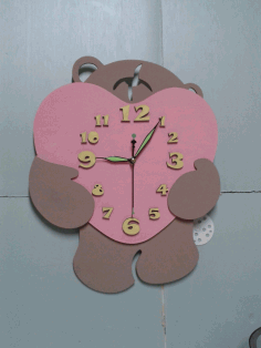 Bear Heart Wall Clock Laser Cut 3d Puzzle Free CDR Vectors Art