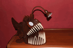 Laser Cut Angler Fish Lamp 3d Puzzle Free CDR Vectors Art