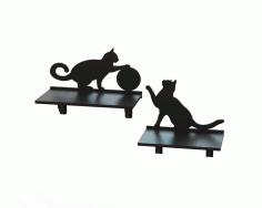 Laser Cut Cat Shelf 3d Puzzle Free CDR Vectors Art