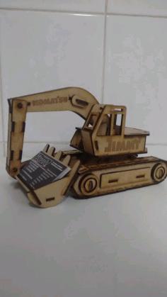 Laser Cut Excavator Visiting Card Holder 3d Puzzle Free CDR Vectors Art