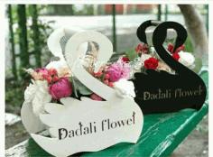 Laser Cut Flower Basket Swans 3d Puzzle Free CDR Vectors Art