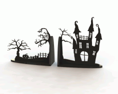 Laser Cut Horror Book End 3d Puzzle Free CDR Vectors Art
