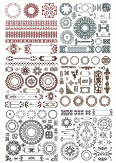 Doodles Border Decor Elements Ornament Free CDR Vectors Art