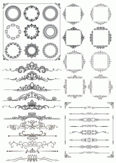Border Decor Element Set Ornament Free CDR Vectors Art