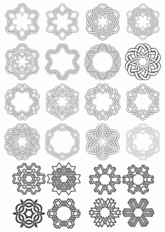 Geometric Circle Ornaments Set Free CDR Vectors Art