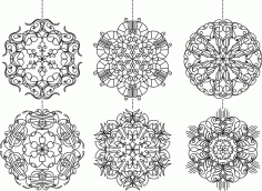 Snowflakes Set Ornament Free CDR Vectors Art