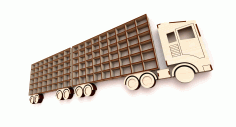 Laser Cut Shelf Truck With Trailer 3d Puzzle Free CDR Vectors Art