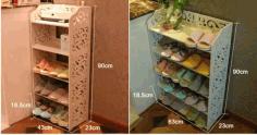 Laser Cut Shoe Rack Shelf Organizer Storage 3d Puzzle Free CDR Vectors Art