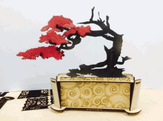 Laser Cut Casket With A Tree Free CDR Vectors Art