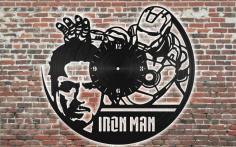 Laser Cut Iron Man Clock Free CDR Vectors Art