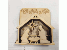 Laser Cut Nativity Shadow Box Free DXF File