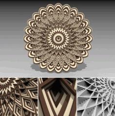 Laser Cut Multilayer 3d Mandala Ornament Free DXF File