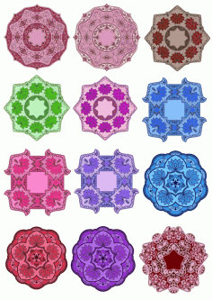 Color Floral Mandala Set Ornament Free CDR Vectors Art
