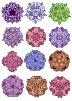 Colorful Mandala Vector Design Pack Ornament Free CDR Vectors Art