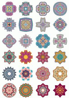 Mandala Flower Doodle Ornament Set Free CDR Vectors Art