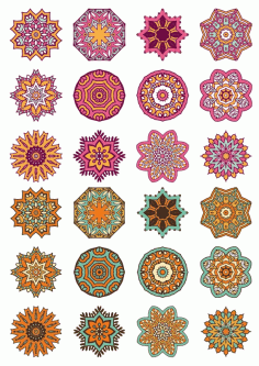 Mandala Ornaments Circle Set Free CDR Vectors Art